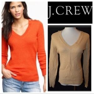 J. Crew Wynter Tan V Neck Button Sweater
